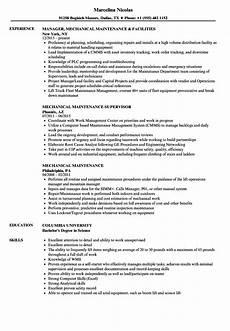 mechanical maintenance resume sles velvet