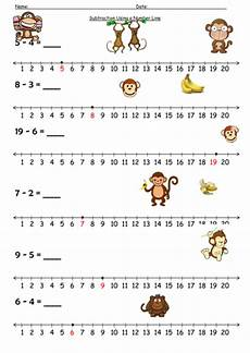 number line subtraction monkey by barang teaching