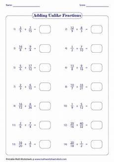 fraction worksheets adding unlike denominators 3843 adding fractions worksheets