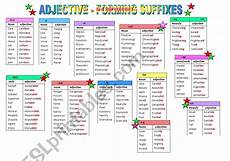 adjective forming suffixes esl worksheet by ilyusha