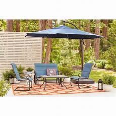 hton bay 11 ft aluminum cantilever solar led offset outdoor patio umbrella in midnight navy