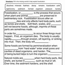 free science worksheets for middle school 13451 fossils fill in the blank worksheet science worksheets 7th grade science teaching