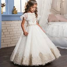 kids infant girls appliques formal dress children bridesmaid toddler elegant dress wedding