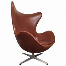 Early Arne Jacobsen Egg Chair In Original Brown Leather By