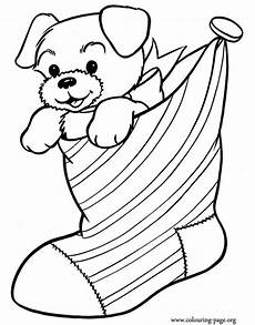 have fun coloring this awesome picture of a cute puppy inside a christmas stocking just print