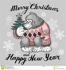 christmas background card with monkey merry christmas and happy new year stock vector image