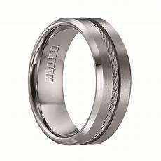 curtis tungsten wedding band with steel cable inlay by triton rings 8 mm titanium wedding