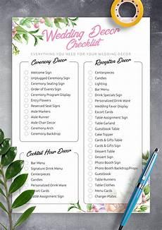 download printable wedding decor checklist pdf