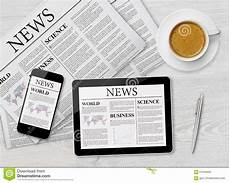 news page on tablet mobile phone and newspaper image of medium computer 57646956