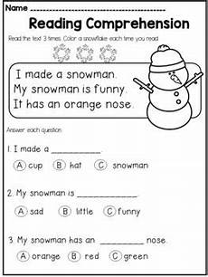winter phonics worksheets for kindergarten 20143 winter kindergarten reading comprehension passages and questions educacion leer y idiomas