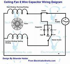 5 wire ceiling fan capacitor wiring diagram electrical