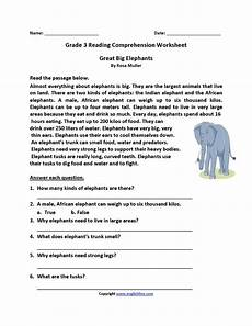 comprehension worksheets for 3rd grade 15636 great big elephants third grade reading worksheets with images third grade reading