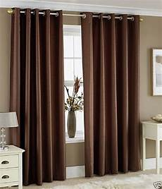Brown Curtains by Homefab India Set Of 2 Window Eyelet Curtains Solid Brown
