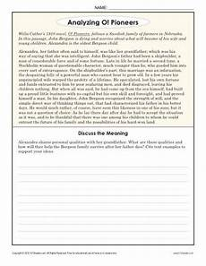 analyzing o pioneers 8th grade reading comprehension worksheets