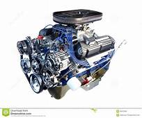 High Performance Chrome V8 Engine Isolated Stock Photo