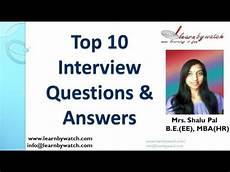 top 10 interview questions and answers english youtube
