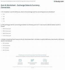 money equivalent worksheets 2142 quiz worksheet exchange rates currency conversion study