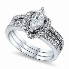 sterling silver women s pave cz wrapped marquise cut wedding ring set ebay