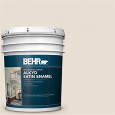 behr 5 gal yl w14 off white satin enamel alkyd interior exterior paint 790005 the home depot