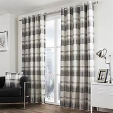 vorhang grau blau check striped grommet lined 2 eyelet curtain panels