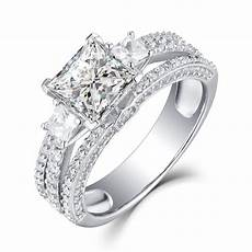 princess cut white sapphire 925 sterling silver womens engagement ring lajerrio jewelry