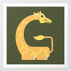Letter G Animal Alphabet Giraffe Monogram Print