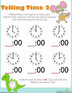 worksheet for kindergarten about time 3598 telling time with mouse kindergarten worksheets education