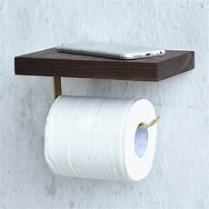 Toilet Paper Shelf Holder Wall Mounted by Toilet Paper Holder With Shelf Wall Mount Wood Brown