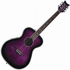 purple guitar rock pixie electro acoustic guitar plum purple burst ex demo at gear4music