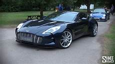 Blue Aston Martin One 77 Startup And Driving