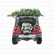 jeep merry christmas tree garland watercolor etsy