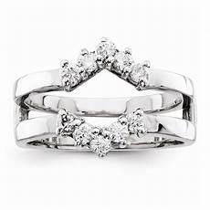 14k white gold diamond ring guard mounting no center