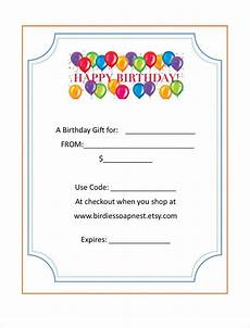 20 Birthday Gift Certificate Templates Free Sle