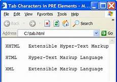 xhtml tutorial tab characters in a quot pre quot element