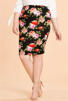 Floral Pencil Blue Intl s plus size skirts julliana floral pencil skirt