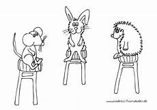 Ausmalbilder Hase Und Igel Ausmalbild Tierfreunde Hase Maus Und Igel Auf Hockern