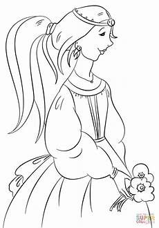 princess with flowers coloring page free printable