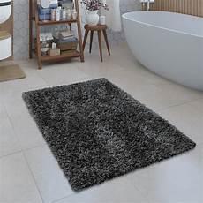 Badezimmer Teppich Shaggy Einfarbig Grau Teppichcenter24