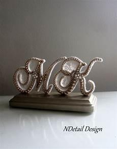 monogram pearl topper bride and groom custom