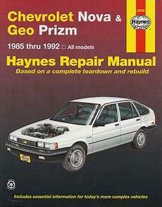 small engine service manuals 1992 geo prizm regenerative braking 1985 1992 chevrolet nova geo prizm haynes repair service manual