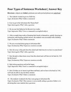 four types of sentences worksheet answers