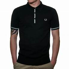 fred perry k9373 s knitted polo shirt in black fred