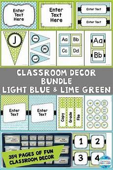 light blue and lime green decor bundle lime green decor word wall letters classroom pennants