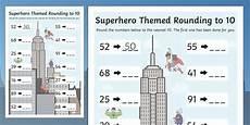 superhero themed rounding to 10 worksheet superhero