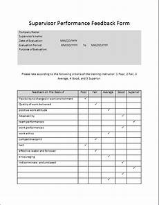 supervisor performance feedback form microsoft word excel templates