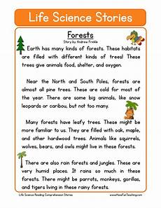 reading comprehension worksheet forests