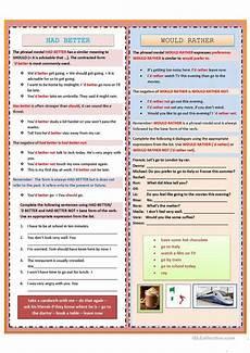 grammar worksheets intermediate level 24869 had better would rather worksheet free esl printable worksheets made by teachers