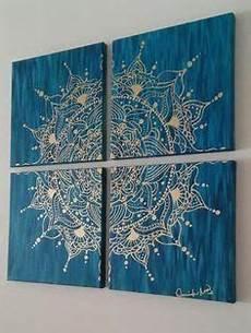 Bemalt Gold Mandala Acryl Auf Leinwand