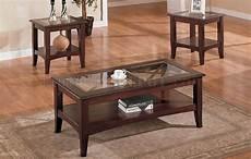 cherry stylish 3pc coffee table set w glass tops