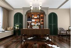 spacious office with dark floors and forest green doors sw 2019 color trend naturalist